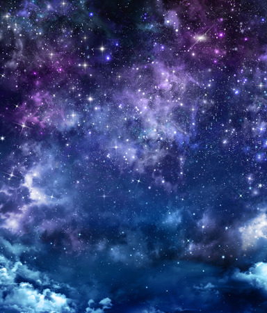 cloudy and starry night sky in space