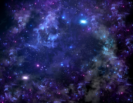star field with cloud clusters in outer space
