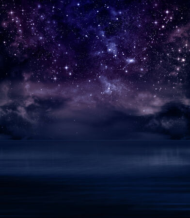 starry sky in the open sea abstract  background