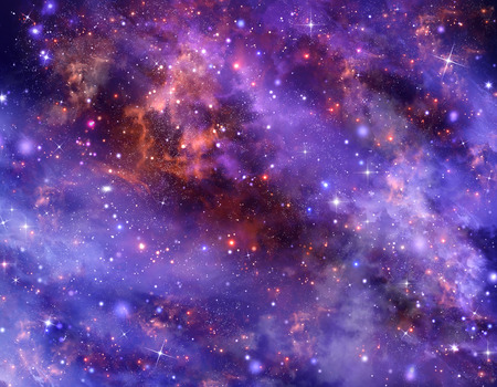 starry purple night sky in deep outer space