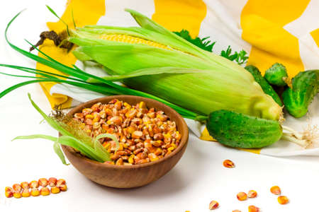 Photo pour Corn seeds in wooden bowl, fresh ear of corn, cucumbers and parsley on tablecloth isolated on white background. Organic, healthy food concept - image libre de droit