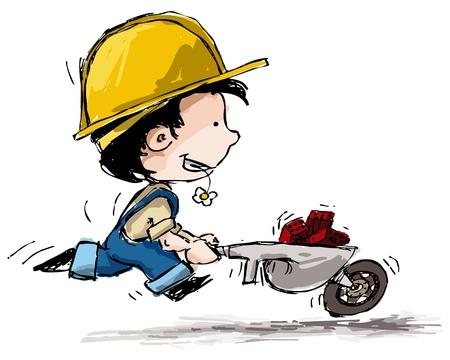 Grunge style illustration of a boy in farmer