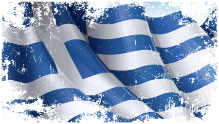 Grunge textured Greek Flag