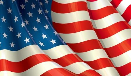 Clean cut design of a Waving American flag