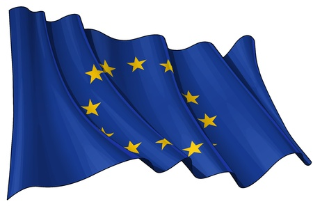 Waving EU flag - EPS v 10 File and a 6800 x 4500 pxl with clipping path Preview JPG - Transparency is used on the shading layers