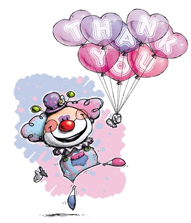 Cartoon/Artistic illustration of a Clown with Heart Balloons Saying Thank You