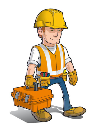 Vector cartoon illustration of a Construction Worker carrying a toolkit.