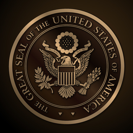 Illustration pour Highly detailed vector design of a monochromatic embossed, gold official Great Seal of the United States. 25 Mpxl, Q12 JPEG preview. - image libre de droit