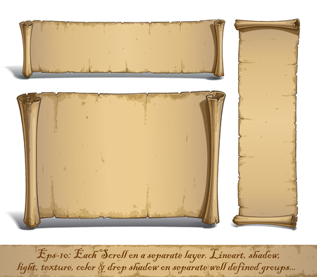 Illustration pour Set of three vector Cartoon illustrations of aged blank scrolls. Each Scroll on a separate layer, Lines, Shadow, Lights, Color & Drop Shadow on separate groups for easy editing. - image libre de droit