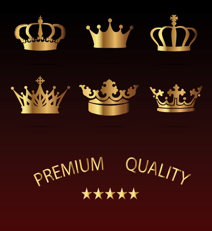 Crown premium Icons Set - Isolated On Black Background -  Illustration, Graphic Design, Editable For Your Design