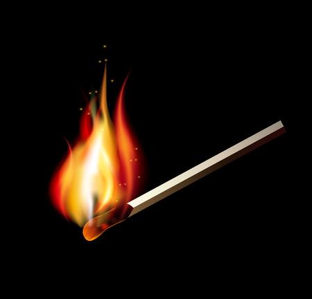 Burning match on a black background for design. illustration