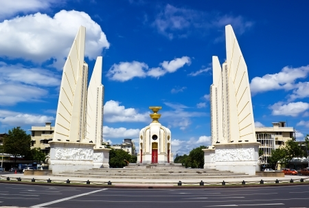 Democracy monument in day time with blue sky Bangkok Thailand