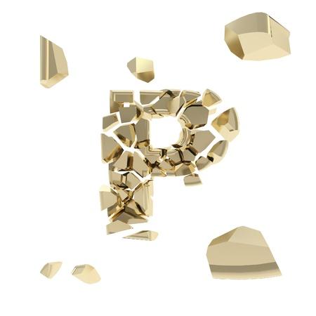 Abc alphabet symbol broken into tiny glossy pieces isolated on white