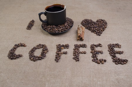 I love coffee time with an inscription coffee and a heart