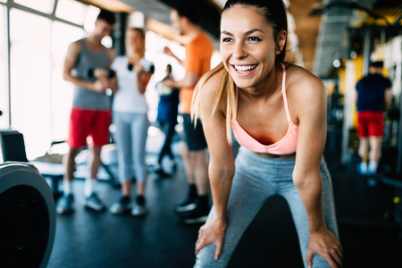 Photo for Close up image of attractive fit woman in gym - Royalty Free Image