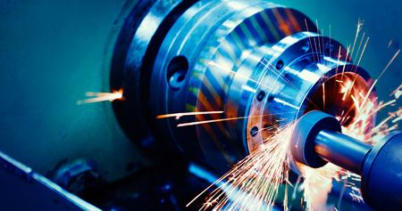 Photo for machine tool in metal factory with drilling cnc machines - Royalty Free Image