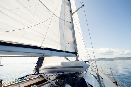 Photo for Portrait of sailing boat on open sea - Royalty Free Image
