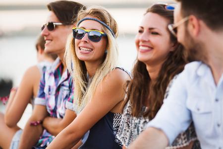 Photo pour Group of young happy friends having fun time - image libre de droit