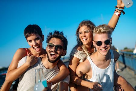 Photo pour Group of young friends having fun together - image libre de droit