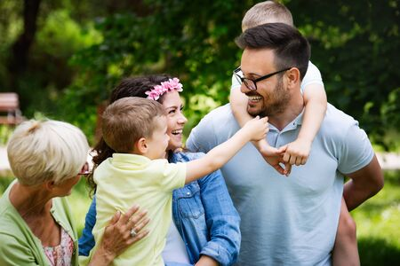 Photo for Happy family enjoying picnic in nature at summer - Royalty Free Image