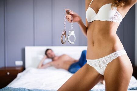 Foto de Playful couple in love affectionate in the morning - Imagen libre de derechos