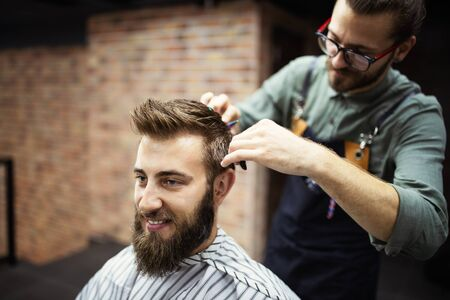 Foto für Client during beard and moustache grooming in barber shop - Lizenzfreies Bild