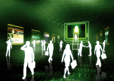 Concept of internet business illustrated with people doing business in futuristic virtual world.