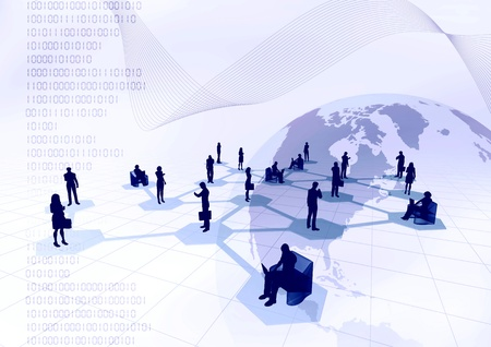 Concept of how people from around the world connected in a social or business network inside the internet.