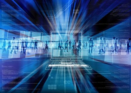 Digital people inside the virtual world of internet