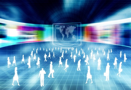 Internet business concept with people doing activity in virtual world of internet