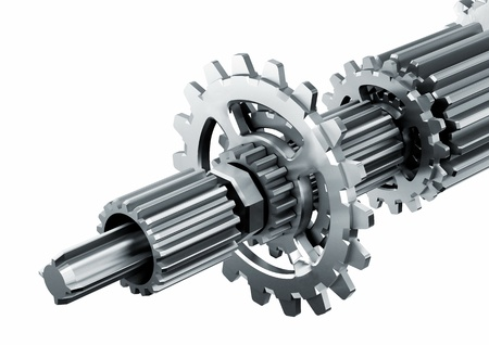 3d rendered illustration of a piece of mechanical rotary metal engine isolated in white