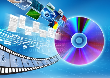 Photo pour Conceptual image about how a CD or DVD as a storage  to save data, song, picture or movie - image libre de droit