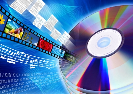 Photo pour Conceptual image about how a CD or DVD as a content holder of multimedia data such as movie, song, files, document, archive, software or database - image libre de droit