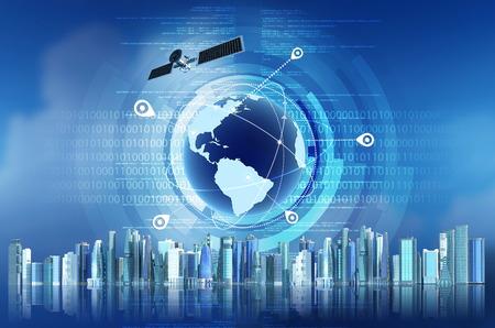 Photo pour Conceptual image of Global Positioning System GPS with futuristic city background - image libre de droit