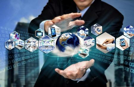 Photo pour Internet for business conceptual image. Businessman using internet information technology to communicate and access global information. - image libre de droit
