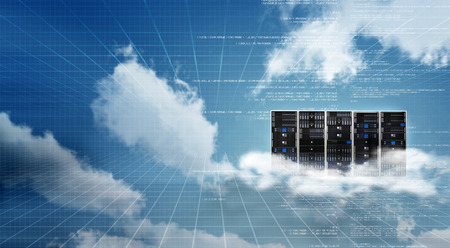 Photo pour Information technology concept. Conceptual image of Internet Cloud server cabinet - image libre de droit