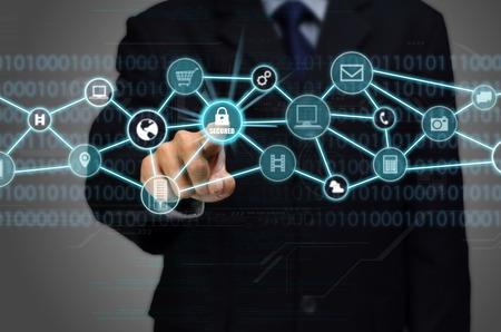 Photo pour Internet Secured network Connection conceptual image with business man touching a padlock protected secured internet connection - image libre de droit