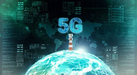 Photo for 5G internet broadband infrastructure network concept. 3D Render. - Royalty Free Image