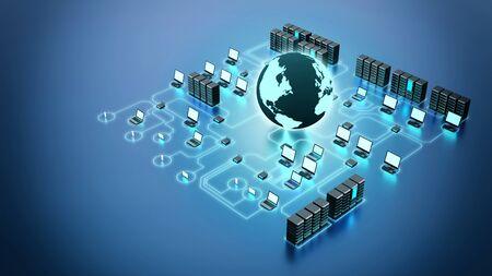 Photo pour 3D rendering Conceptual image of internet Computer network, and gadget communication - image libre de droit