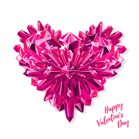 Greeting card for Valentine's day. Purple heart with crystals realistic vector isolated on white background.