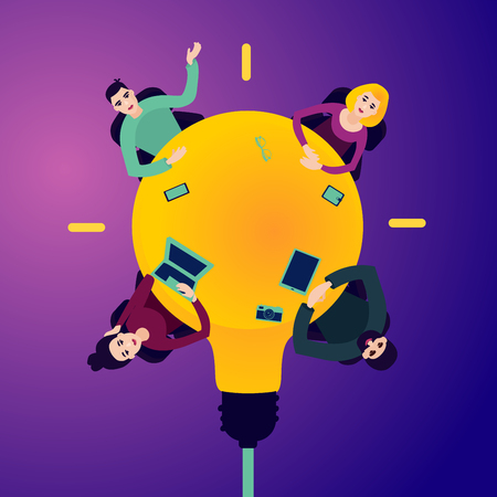 Illustration pour Meeting in the office. People on the round table in the shape of the bulb. Top view. Teambuilding concept. Flat style illustration. - image libre de droit