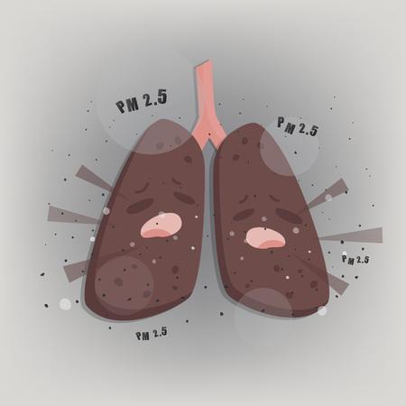 Illustration pour Terrible lung with Air pollution PM2.5. - image libre de droit