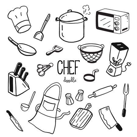 Illustration pour Hand doodle styles for Chef items. Doodle chef. - image libre de droit
