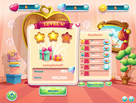 Example of the user interface of a computer game. Window complete a level.
