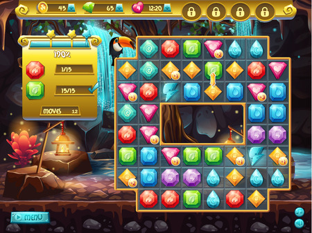 Example of the user interface and the playing field for a computer game three in a row. treasure hunt