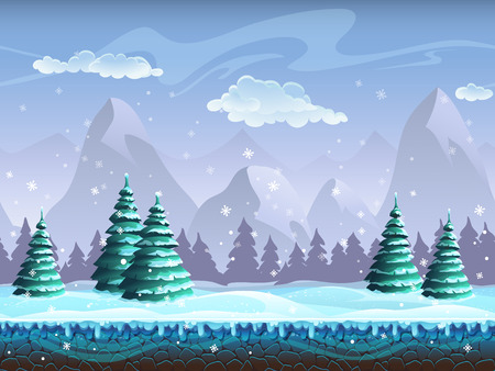 Seamless cartoon winter landscape background endless ice, snow hills, mountains, clouds, skyのイラスト素材