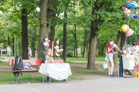 Kiev, Ukraine, -07 July, 2018: Street shopping in the amusement park.