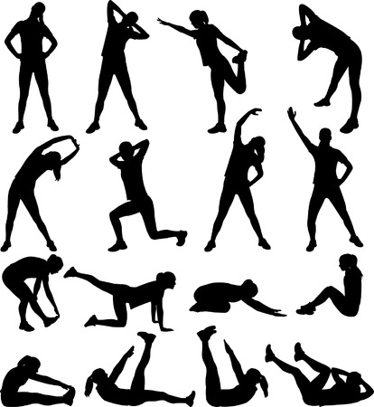 Foto de woman exercising silhouettes- vector - Imagen libre de derechos