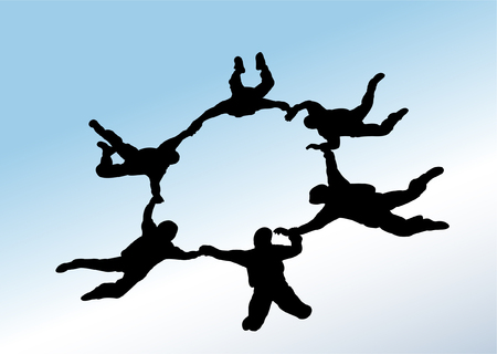 skydivers formation - vector