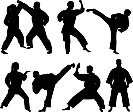 karate fighters - vector